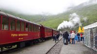 Fahrt mit der Furka-Dampfbahn (Haltepunkt Furka)