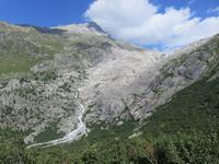 Fahrt mit der Furka-Dampfbahn - Blick zum Rhone-Gletscher