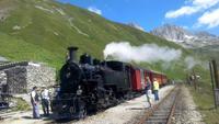 Furka-Dampfbahn, Fahrt von Realp nach Oberwald, Pause am Scheiteltunnel