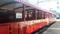 Fahrt mit der Rigi-Bahn von Vitznau nach Rigi-Kulm im Nostalgiewagen