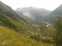 Blick von der Grimselpass-Strasse zum Rhonegletscher