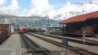 Bahnhof Pontresina (Einfahrt des Bernina-Express)