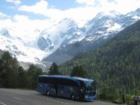 Mit den Bus geht es zurück nach Davos-Morteratschgletscher
