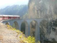 Fahrt mit dem Bernina-Express (Landwasser-Viadukt)
