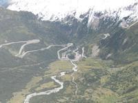 Blick vom Rhônegletscher nach Gletsch