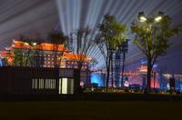 Lasershow am Südtor der Stadtmauer in Xi'an, Lichterfahrt