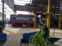 Start zur Fahrt mit der Zuckerrohbahn der ehemaligen Zuckerfabrik Australia