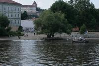 Am kleinen Moldaustrand genossen nicht nur Menschen das herrliche Wetter.