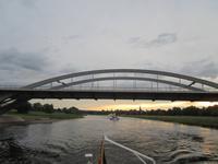 Dresden,Dixielandfahrt mit dem Salonschiff-August der Starke_Waldschlösschenbrücke