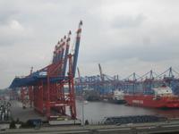 Hamburg, Stadtrundfahrt,Blick in den Hafen