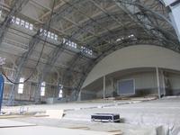 Blick in das Passionstheater, wo noch gebaut wird