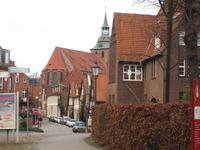 Schiefes Stadtbild in Lueneburg