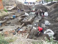 Rolligruppe in Daenemark - Odense - Ausgrabung einer Wikingerstätte