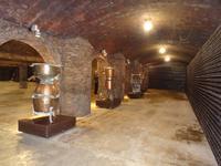 Endlose Flaschenreihen und alte Geräte im Keller von