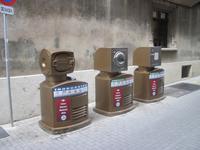 Fururistische Müllbehälter in Palma de Mallorca