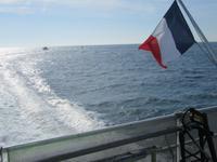 Auf der Fähre nach Sark - es ist eine französische Fährgesellschaft