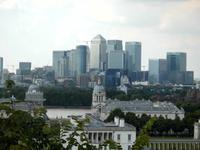 Blick von Greenwich zu den Docklands