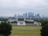 Blick vom Greenwich Park auf die Docklands