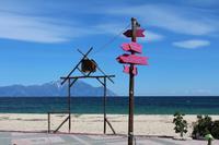 Strand von Sarti mit Blick auf den Berg Athos