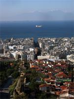 Schemenhaft grüßt der Olymp gegenüber von Thessaloniki