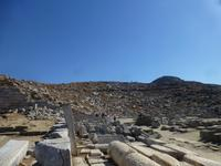 Blick auf Ausgrabungen von Delos