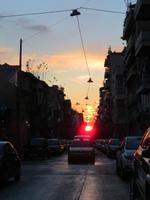Sonnenuntergang in den Straßen Athens