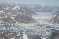 Blick aus dem Flugzeug über Grönland