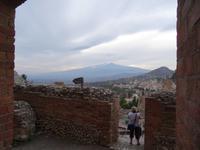 Taormina - Blick vom Teatro auf den Ätna