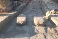Trittsteine und ales römisches Straßenpflaster, Pompeji