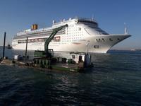 ein Seekreuzfahrtschiff wird in den Hafen gezogen