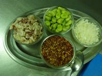 Speisezutaten für das Gericht Nudeln mit Puffbohnen