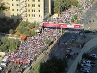 Blick vom Hotelfenster in Amman - Ein Marathon startet