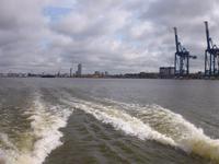 Blick vom Katamaran auf den Hafen von Klaipeda