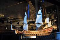 Das Model der Vasa mit Segeln