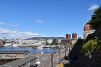216 Oslo, Blick von Akerhus zum Rathaus