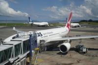 ...unser Quantas-Flugzeug von Auckland nach Sydney...