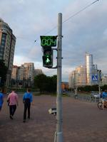 Für uns ungewohnt zeigen die Ampeln in St. Petersburg die verbleibende Zeit der Grünphase an.