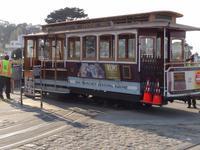 San Francisco - Anfangsstation der Powell/Hyde Street- Linie, Drehen der Cable Car